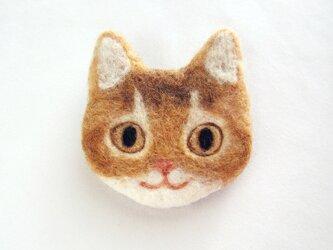 猫顔フェルトブローチ(レッド)の画像
