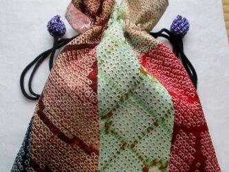 送料無料 絞りの羽織で作った巾着袋 3946の画像