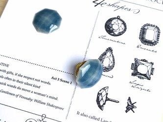 陶器の宝石ピンブローチ 八角形/ブルーの画像