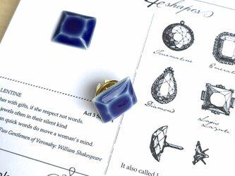 陶器の宝石ピンブローチ 正方形/るり色の画像