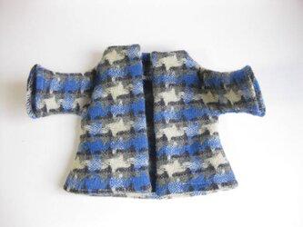sokko's Coat  グレー地に黒の格子、白とブルーの菱形模様の画像