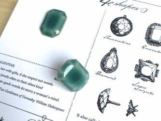 陶器の宝石ピンブローチ 長方形/エメラルドグリーンの画像