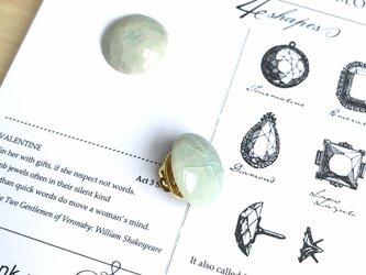 陶器の宝石ピンブローチ 丸/アイスブルーの画像