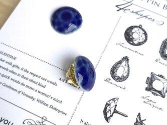 陶器の宝石ピンブローチ 丸/るり色の画像