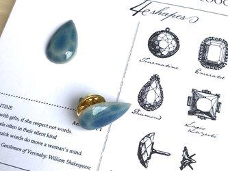 陶器の宝石ピンブローチ シズク/ブルーの画像
