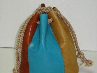 手縫 牛革パッチワーク風巾着の画像