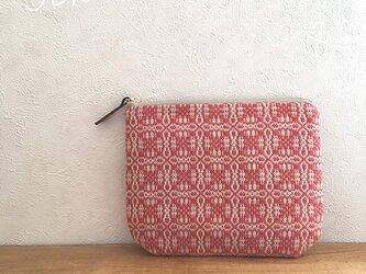 pouch[手織り小さめポーチ]レッド×アイボリーファスナーの画像