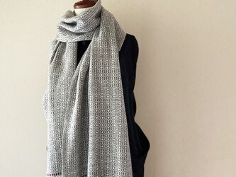 [再販]手織りオーバーショットカシミヤショール グレー×レッドラインの画像