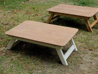 折りたたみミニテーブルWhite アウトドア キャンプ フォールディングテーブルの画像