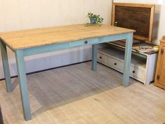シャビーなダイニングテーブル140 Dressing Table Blueの画像