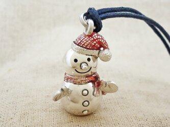 鈴『雪だるま』銀製(シルバー925+レジン)の画像