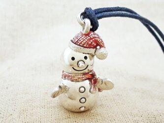 銀製の鈴『雪だるま』(シルバー925+レジン)バッグチャームの画像
