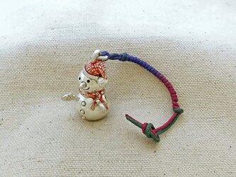 銀製の鈴 『 雪だるま 』 (シルバー925+レジン) 根付・バッグチャームの画像