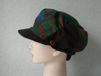 魅せる帽子☆ウールニットのリバーシブルキャスケット~グリーン&ブラウンの画像