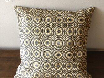 cushion cover[手織りクッションカバー] ヴィンテージ風グレー×イエローの画像