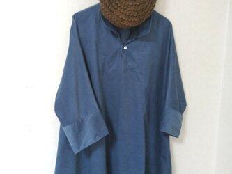 ドルマンスリーブシャツ*チュニック(ダンガリーブルーーコーデュロイ)の画像