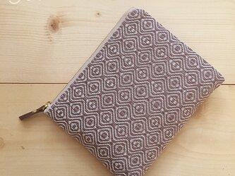 pouch[手織り小さめポーチ]あずき×アイボリーファスナーの画像
