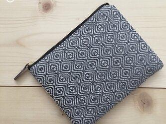 pouch[手織り小さめポーチ]ブルーグレー×ブラックファスナーの画像