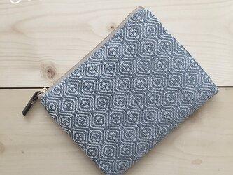 pouch[手織り小さめポーチ]薄ブルー×ベージュファスナーの画像