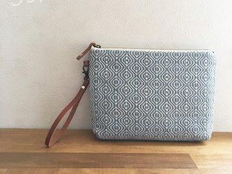 pouch[手織りポーチ] うすブルーベルト付きの画像