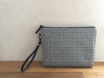 pouch[手織りポーチ] ネイビーベルト付きの画像