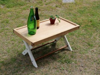 folding table 折りたたみローテーブル60 ホワイトシャビー キャンプ camp アウトドア outdoorの画像