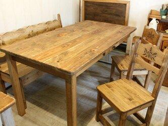 アンティーク風カントリーダイニングテーブル イス ベンチ セット 麦の画像