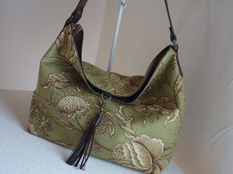 t様ご依頼品:ワンハンドルのくったりバッグ(輸入生地: ウェバリーグリーン)の画像