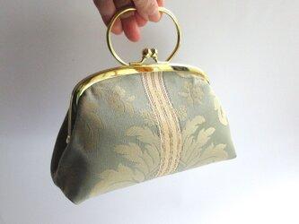 ダマスク織・がま口型ポーチバッグ・緑(イタリア製)の画像