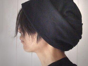ターバンな帽子 黒+ライトグレー  送料無料の画像