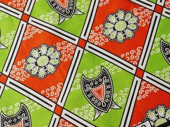 アフリカ布『カンガ』ルージュオレンジ × グリーンの画像