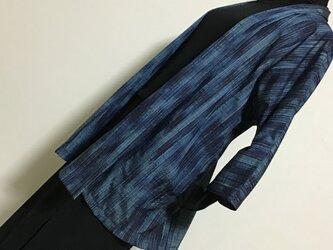 1128    着物リメイク    ジャケット    七分袖    手織り真綿紬の画像
