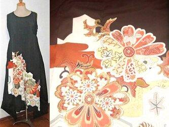 Sold Out留袖リメイク♪華紋様が素敵な留袖ワンピース♪裾変形♪ハンドメイド♪正絹・フォーマル・着物リメイクの画像
