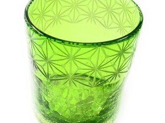 琉球ガラスⅩ東京切子(花切子)ロックグラス 千代紙 緑の画像