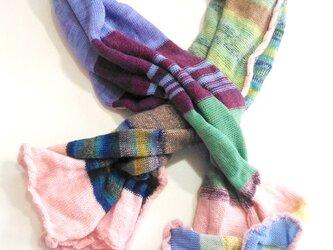 色々な毛糸のショール:カラフル!の画像