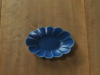 輪花楕円6寸鉢/青の画像