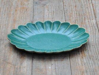 輪花楕円8.5寸鉢/緑の画像