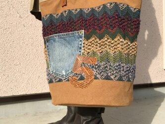宅急便送料無料☆army duc & knit round  bag L camelの画像