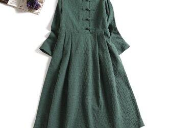数限定 秋冬の綿麻ワンピース 手つくりボタン ロングワンピース  グリーン1124-1の画像