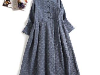 数限定 秋冬の綿麻ワンピース 手つくりボタン ロングワンピース ブルー1124-4の画像