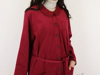 [予約販売] シャツコールワイン丸襟羽織りワンピースの画像