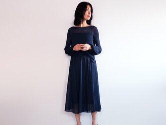 ◆即納◆Azha[アザー] ギャザー・ミモレ・スカート / ネイビー・ブルーの画像
