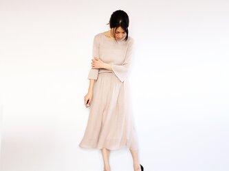 ◆即納◆Azha[アザー] ギャザー・ミモレ・スカート / ヌード・ベージュの画像