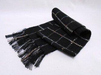手織りミニマフラー(黒)の画像