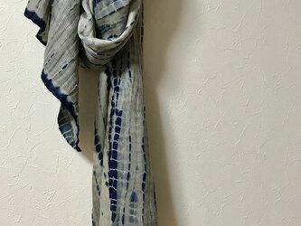 藍染×墨染 ウールシルクマフラーの画像