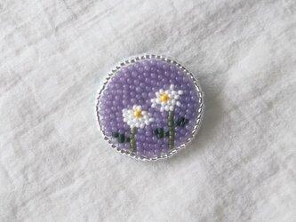 2輪の花 まるタイプ ブローチの画像
