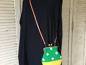 A様専用 革ショルダー がまぐち green 小花の画像