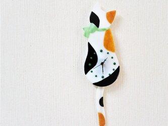 オーダー制作 三毛猫の振り子時計 グリーンのリボンの画像