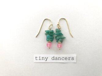 カルセドニー 天然石 ピアス〈Tiny Dancers:BLOOM!〉の画像