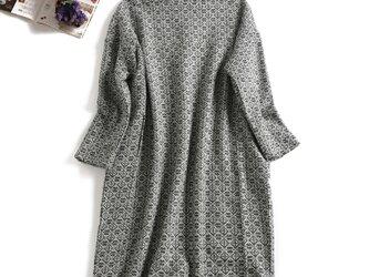 ★送料無料★イギリス製 ジャガード織生地 秋冬の厚てワンピース ゆったりめワンピの画像